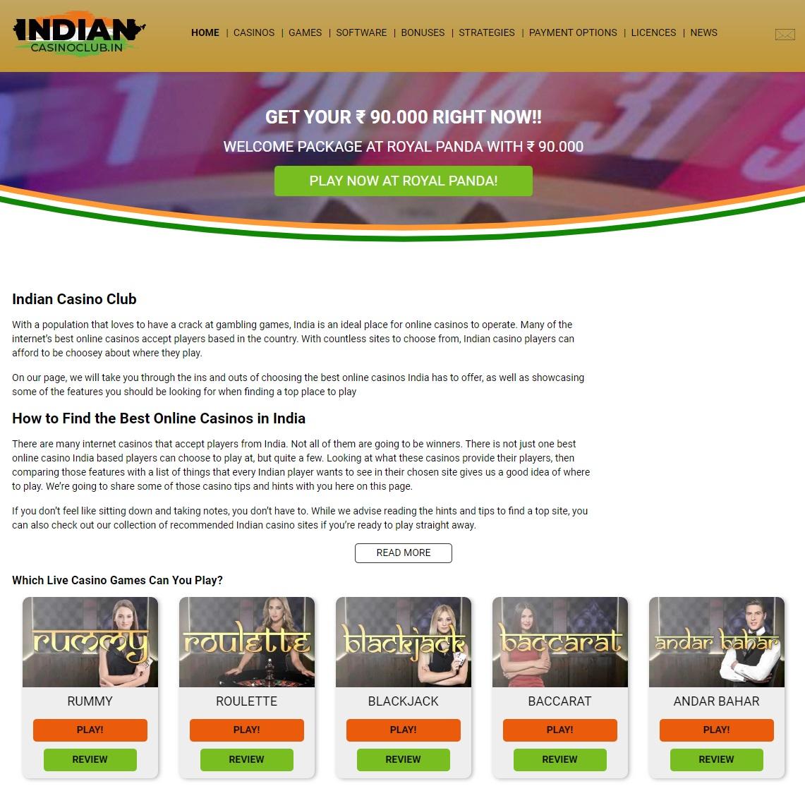 new website indian casino club online